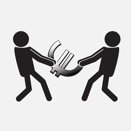 cupidity: Two Man pulling a money symbol,  Money concept illustration