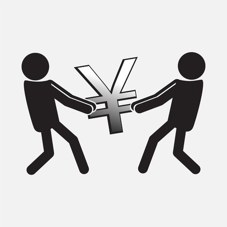 avidity: Two Man pulling a money symbol,  Money concept illustration