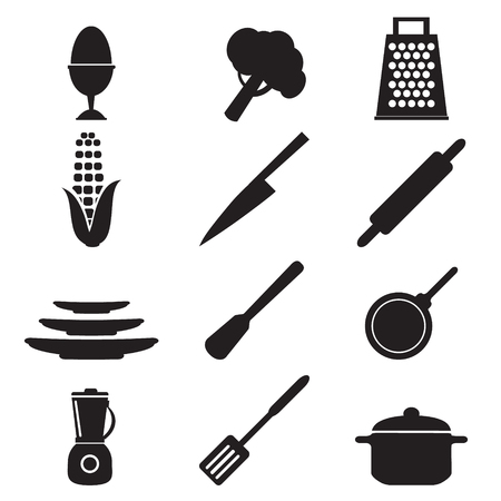 kitchen utensil: kitchen utensils sign set vector illustration Illustration