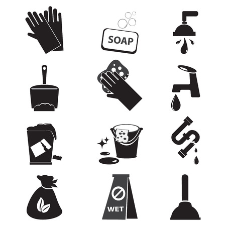 maid service: cleaning icon set vector illustration
