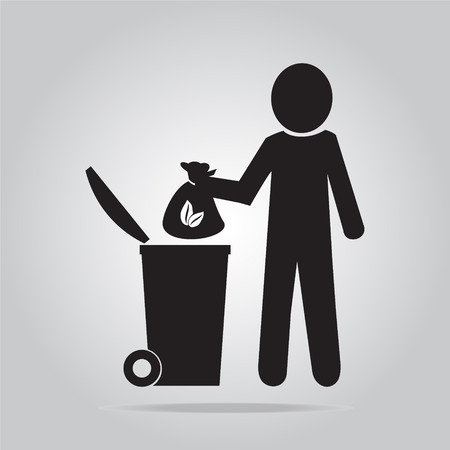 garbage man: Man with garbage bag symbol vector illustration Illustration