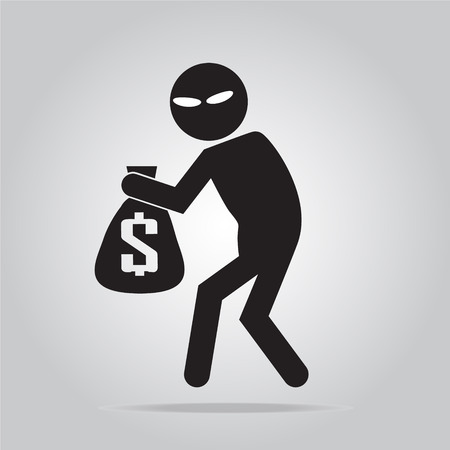 balck: Beware pickpocket sign, thief icon symbol illustration