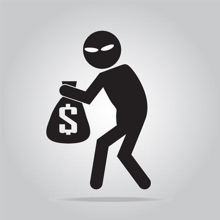 pickpocket: Beware pickpocket sign, thief icon symbol illustration