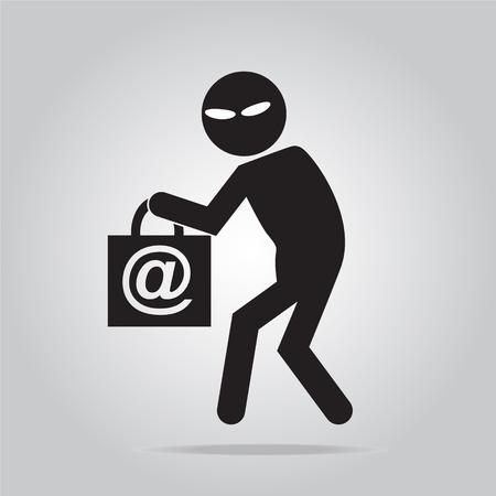 ハッカー、インターネット セキュリティ概念、泥棒アイコン シンボル イラスト