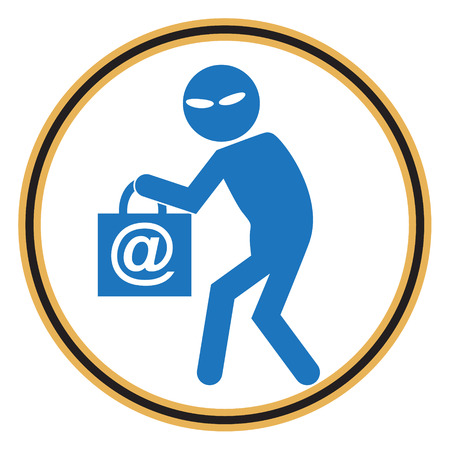 larceny: Hacker, Internet security concept. Thief icon symbol illustration