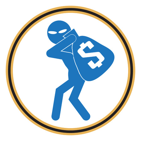 pickpocket: Beware pickpocket sign, thief icon symbol illustration