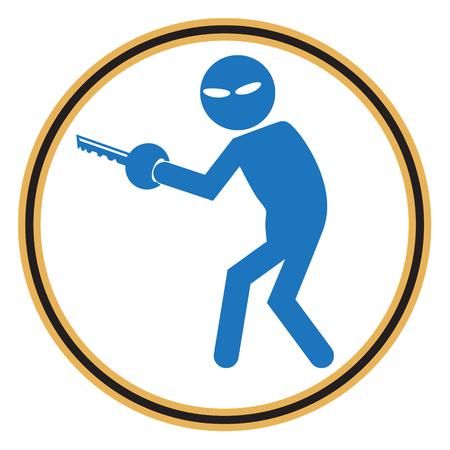 pickpocket: Hacker, Internet security concept. Thief symbol illustration Illustration