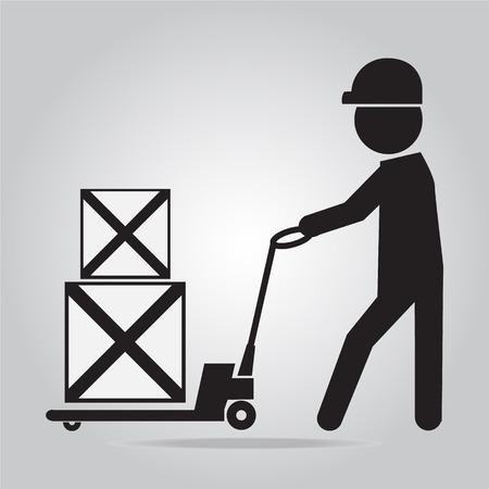 Man met de hand pallet jack lift teken, handpallettruck illustratie Stock Illustratie