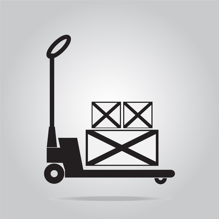crate: Hand pallet jack lift sign, Hand Pallet Truck and crate illustration Illustration