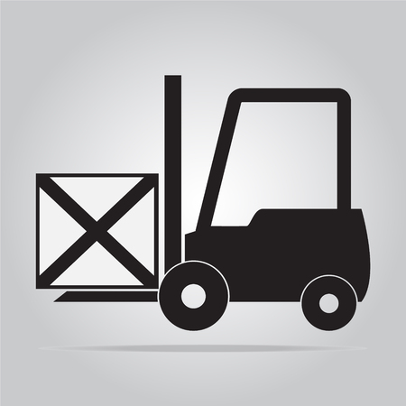 hydraulic platform: Forklift and crate symbol, icon vector illustration Vectores