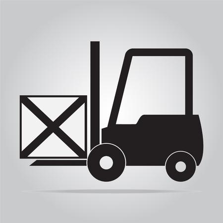 stacker: Forklift and crate symbol, icon vector illustration Illustration