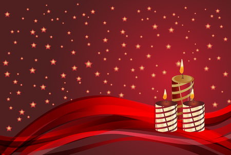 christmas candle: Beautiful christmas candle and star on red background