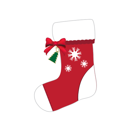 sock: Christmas sock with red bow illustration Illustration