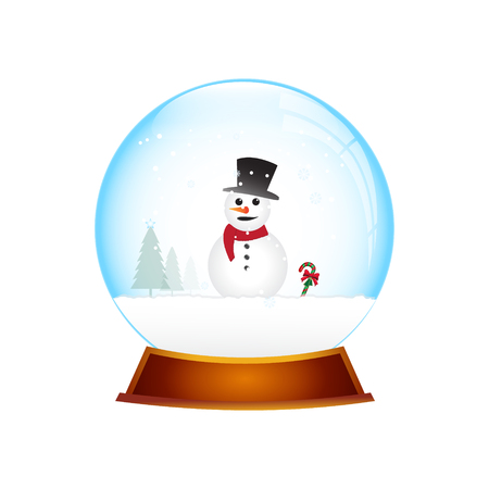 christmas snow globe: Christmas Snow globe with snowman Christmas object illustration Illustration