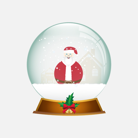 christmas snow globe: Christmas Snow globe with Santa and snow, Christmas object illustration