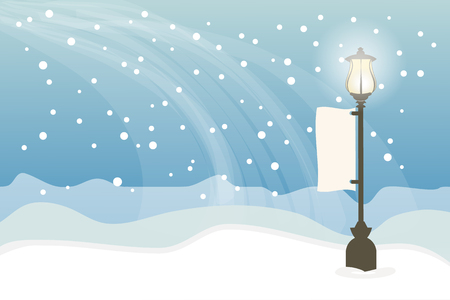 lamppost: Snowy with lamppost, Christmas background