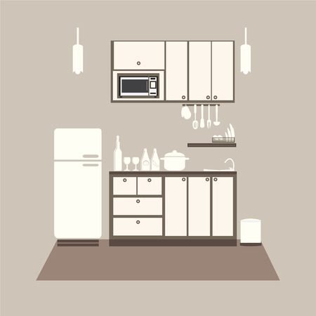 measuring spoon: Kitchen interior concept, kitchen set vector illustration