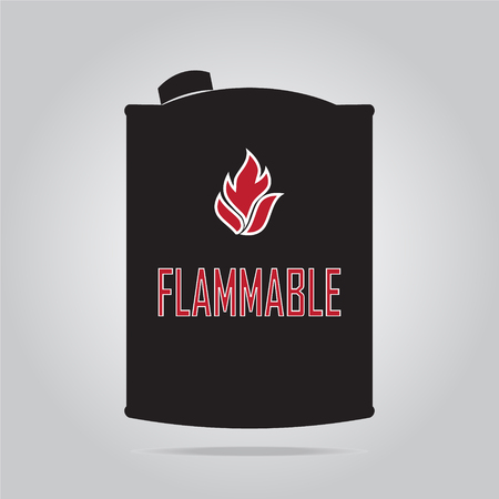 flammable: Fuel container with flammable sign Illustration