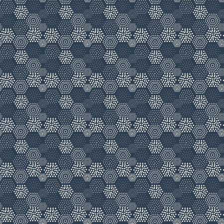 navy blue background: Seamless pattern geometric tiles polka dot abstract navy blue background