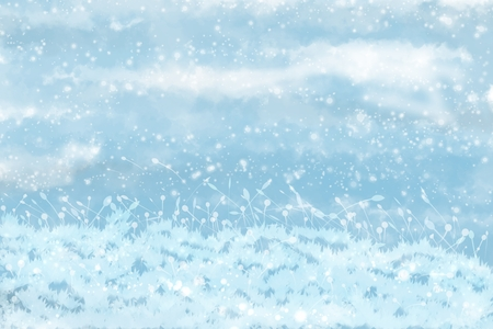 Winter landscape with snowy background