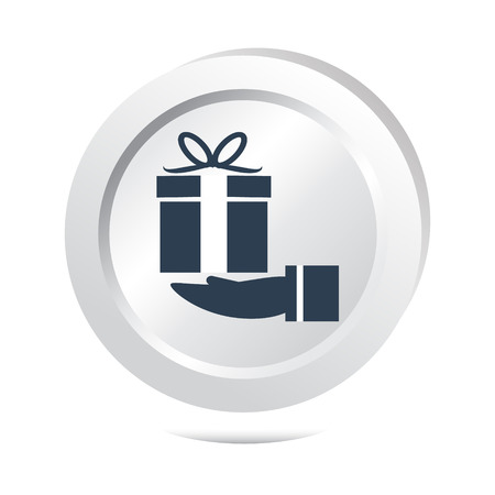 gift icon: Gift box in hand button icon