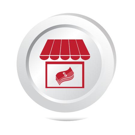 vouchers: Shop and money button icon illustration Illustration