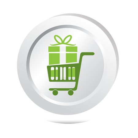 cart button: Gift box and cart button icon illustration