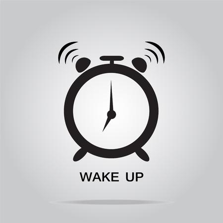 wake up: Alarm clock sign, wake up icon illustration