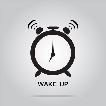 Alarm clock sign, wake up icon illustration