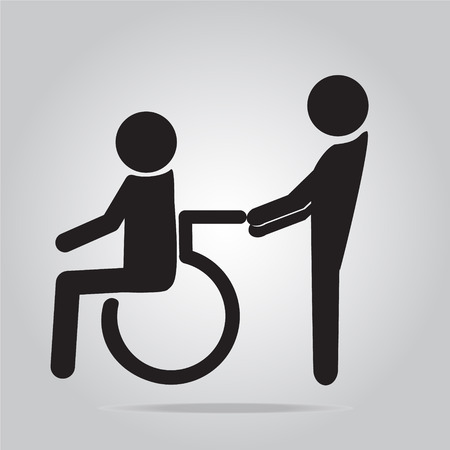 man pushing: Disabled icon sign, a man pushing wheelchair of man patient illustration Illustration