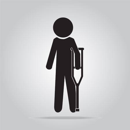 injured: Injured man with crutches sign illustration