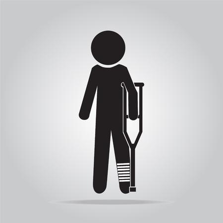 Gewonde man in verband met krukken teken illustratie pictogram