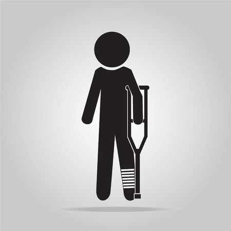 injured: Injured man in bandage with crutches sign icon illustration