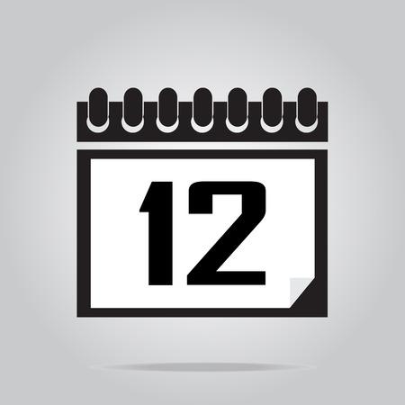 number 12: Calendar icon number 12 vector illustration
