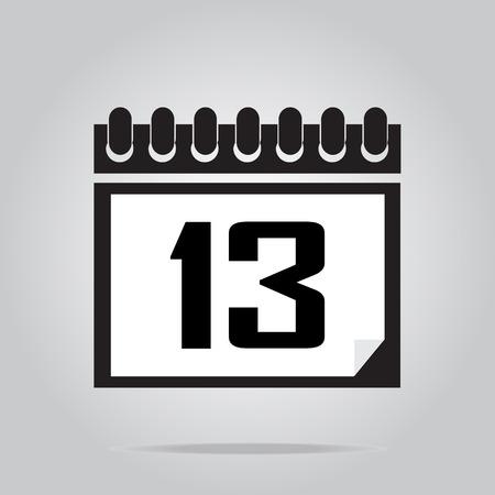 number 13: Calendar icon number 13 vector illustration