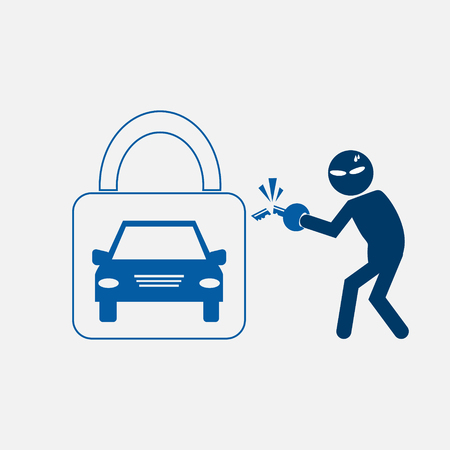 stealing: Car protection to stealing symbol, vector illustration