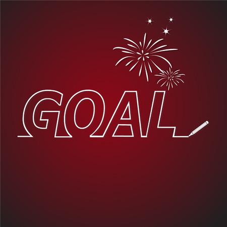 ambitions: Business goal concept line text vector illustration Illustration