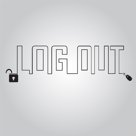 log out: Log out and line text, security concept illustration