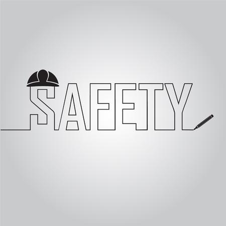 casque sur le texte en ligne, illustration de concept de sécurité de travail