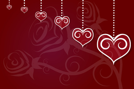 torn heart: Valentines Day with rose and heart illustration abstract vector background