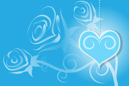 torn heart: Valentines Day with rose and heart illustration abstract vector blue background