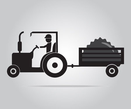 cultivating: Tractor and driver icon, Agriculture tractor illustration Illustration