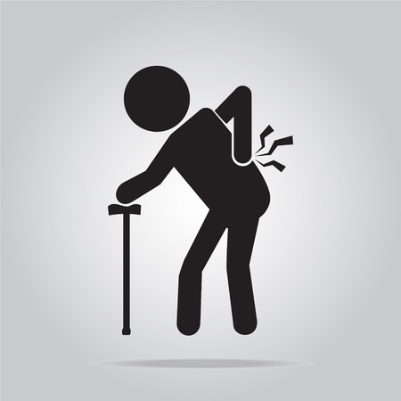 back of leg: Elderly Man with stick and injury of the back pain icon, Old people sign