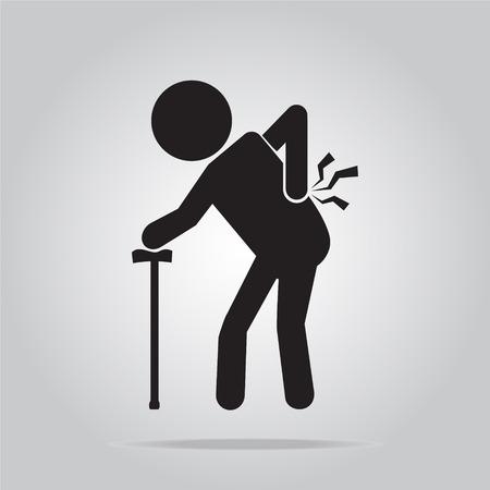 Hombre mayor con el palo y la lesión del icono de dolor de espalda, gente mayor signo Ilustración de vector