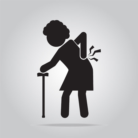 injury: Elderly Woman with stick and injury of the back pain icon . old people symbol illustration