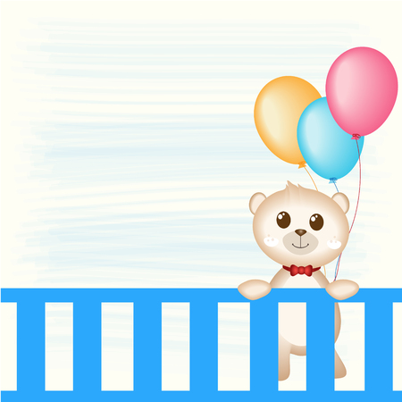happy couple in bed: Teddy Bear and balloons vector illustration