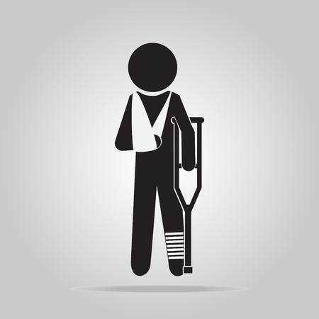 hombre lesión en vendaje con muletas signo icónico