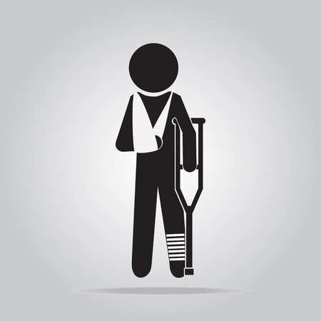 crutches: Injury man in bandage with crutches sign icon illustration