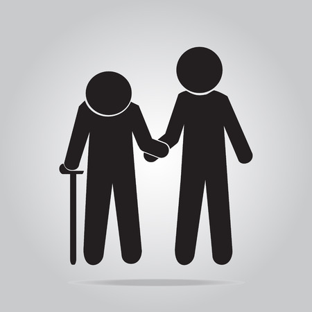helps: Man helps elderly patient icon illustration Illustration