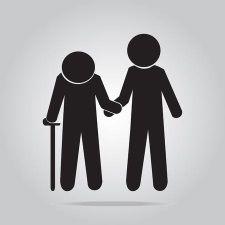 Man helps elderly patient icon illustration Ilustração
